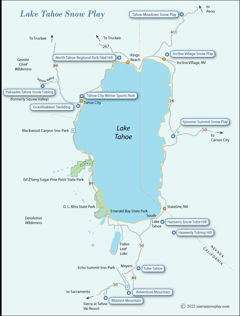 Lake Tahoe Snow Play Map